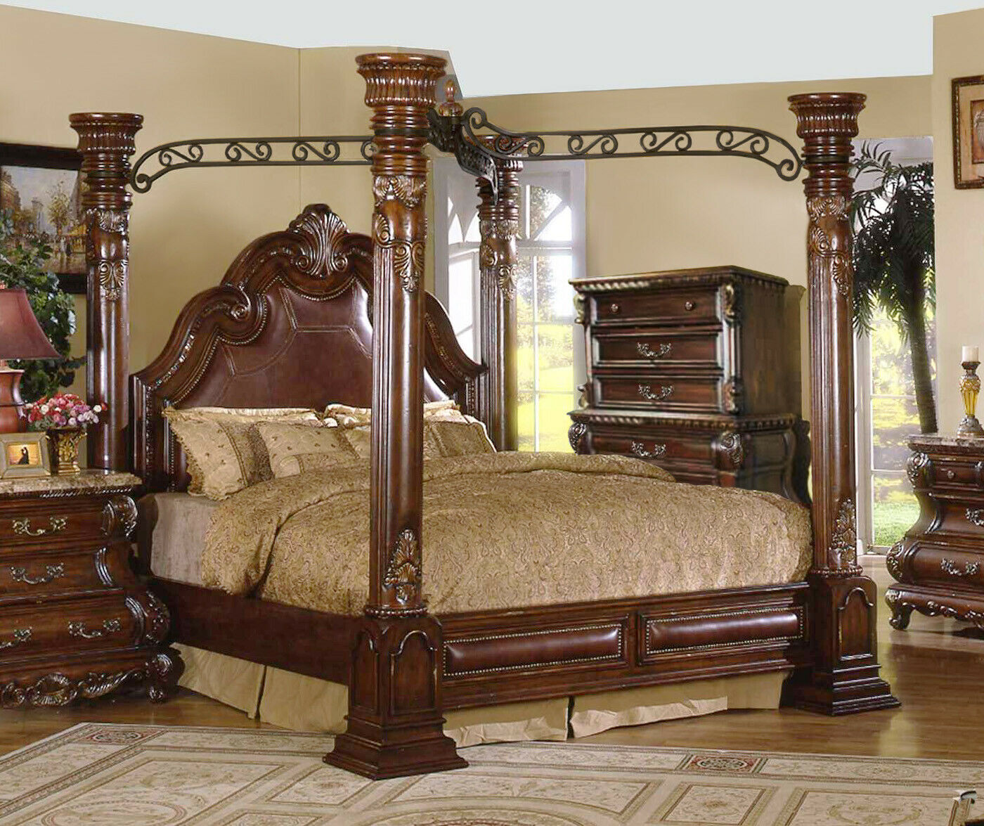 King Cherry Poster Luxury Canopy Bed W Leather Headboard Master Bedroom Ebay