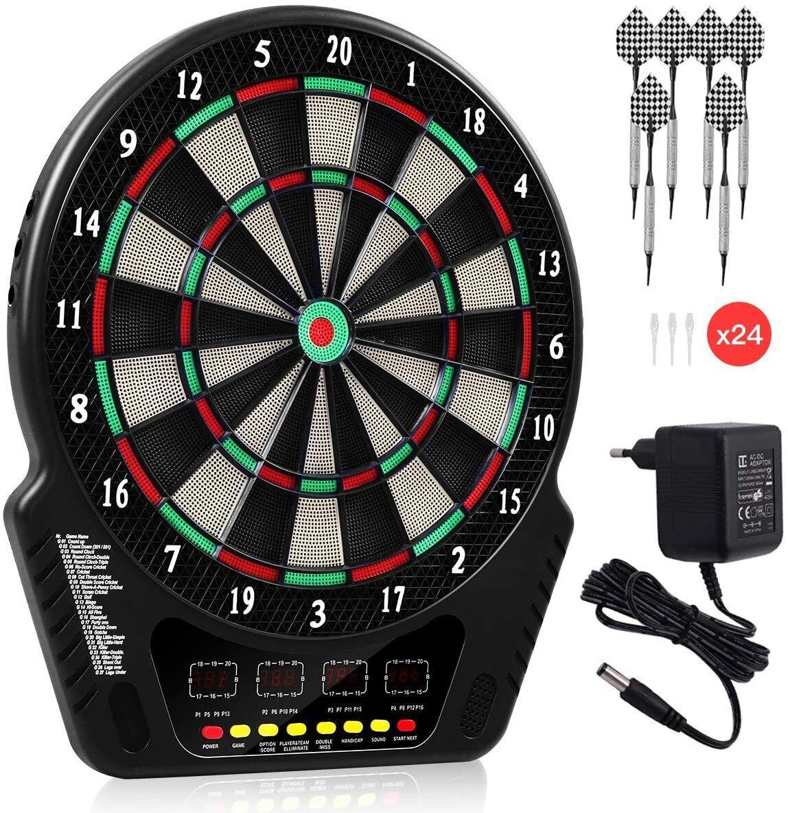 Elektronische Dartscheibe Dartboard 27 Spiele 4 LED Bildschirme 16 Spieler