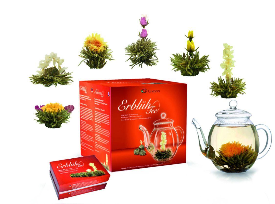 Creano 008 Erblühtee Geschenkset 6x Teeblumen Weißer Tee mit Glaskanne