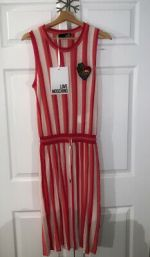 LOVE Moschino Vertical Stripe Pink Heart Dress NWT
