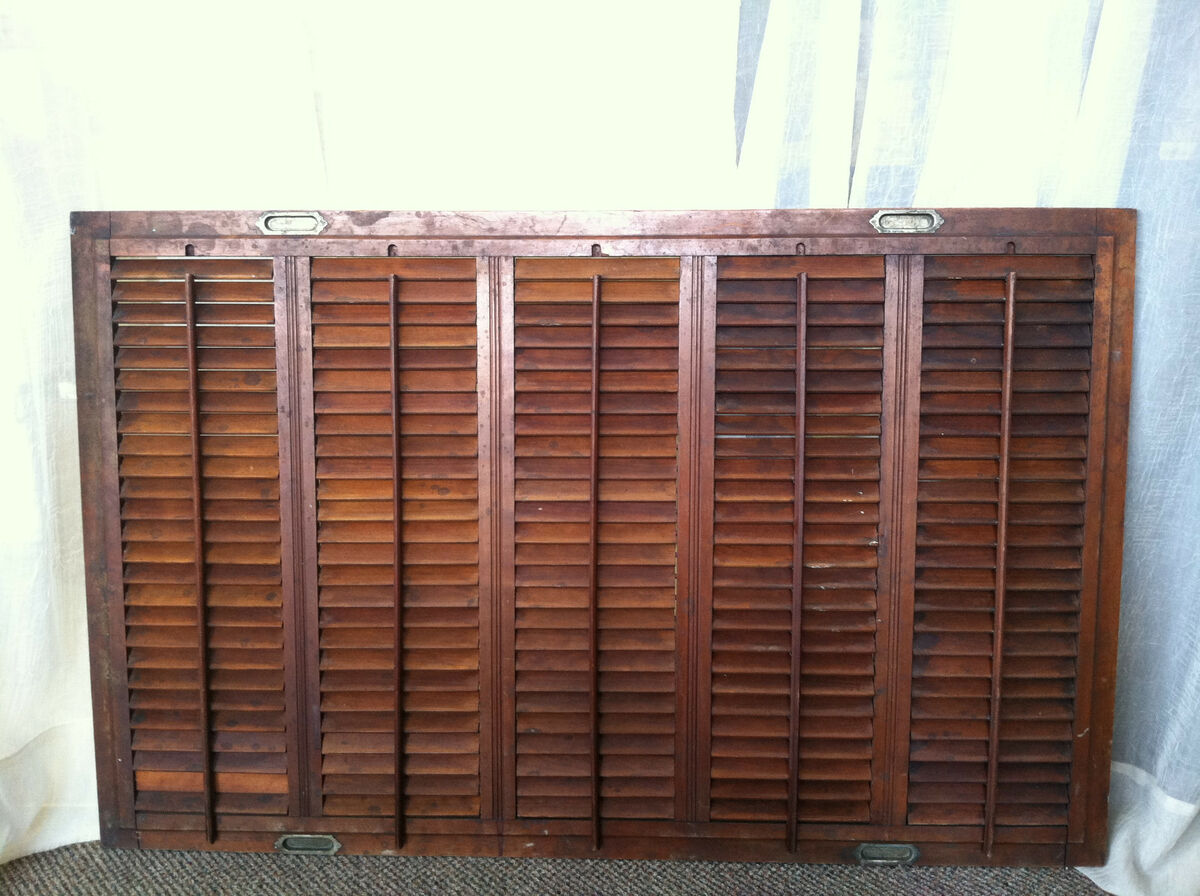 Vintage Plantation Interior Wood Window Shutters Wall Decor