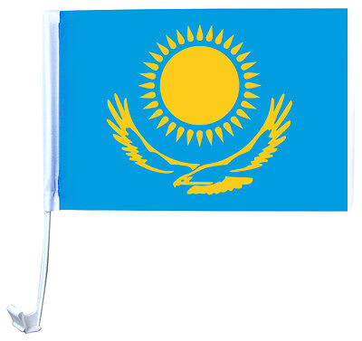 2er SET Autoflagge KASACHSTAN Autofahne Fahne Flagge Auto FA-0005