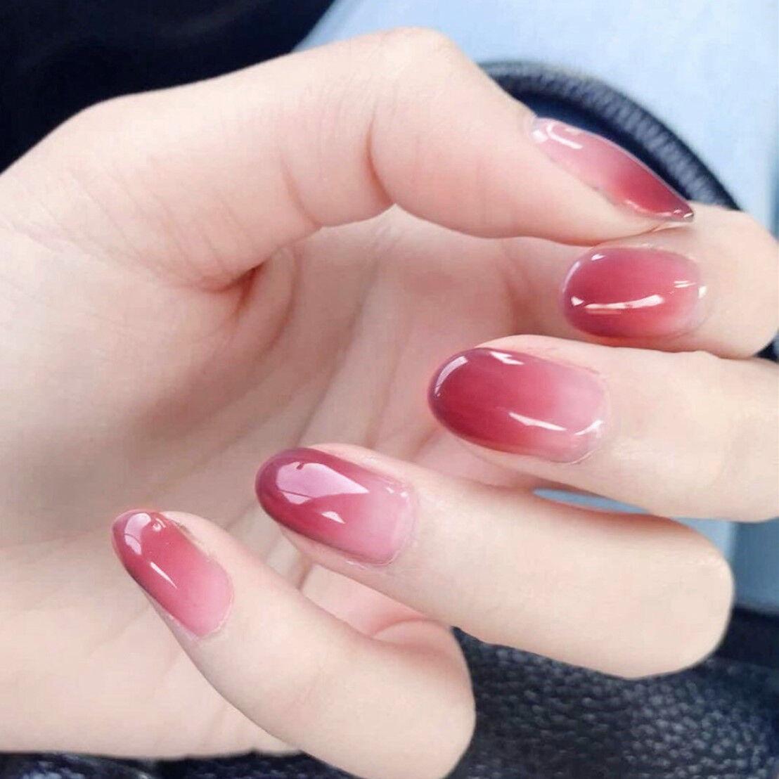 24x Fake Nails French Manicure Pink Purple Kawaii Short Natural