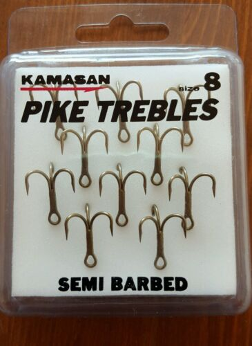 10-x-KAMASAN-SEMI-BARBED-PIKE-TREBLES-SIZE-8
