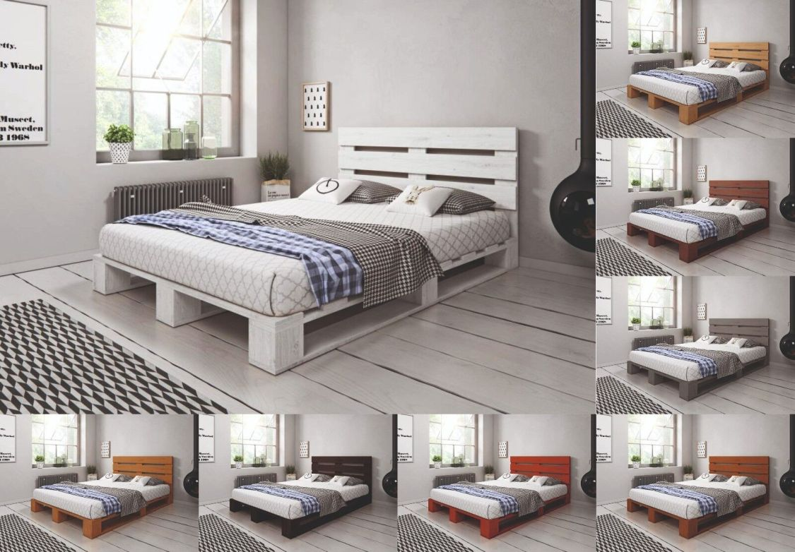 Palettenbett aus Holz Massivholzbett Palettenmöbel mit Kopfteil versch. Farben