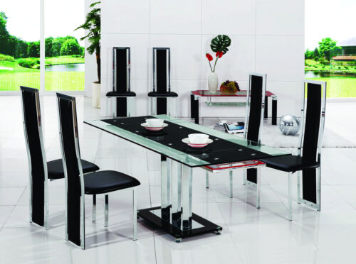 PAVIA-EXTENDING-GLASS-CHROME-DINING-ROOM-TABLE-4-CHAIRS-SET-FURNITURE-601-816