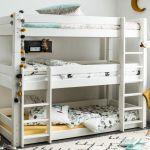 Scandinavia Solid Wood Triple Bunk Bed Frame In White Painted Modern Design Ebay