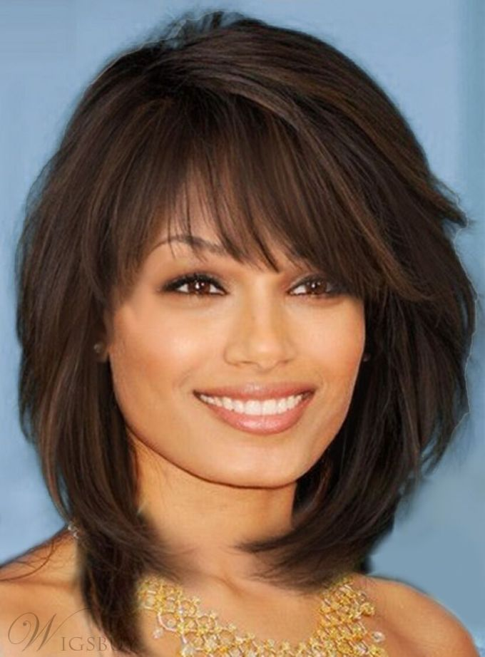 details about sweet layered bob hairstyle mid-lenght straight capless synthetic wigs hair