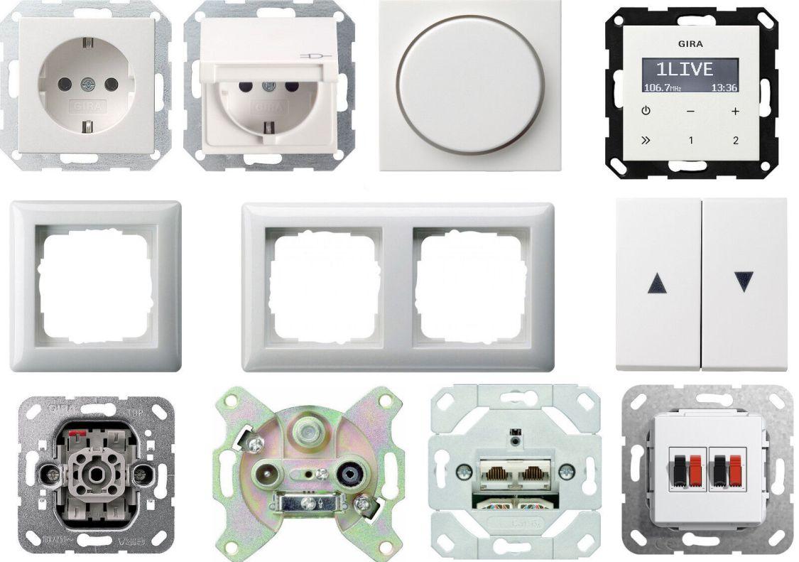 Gira System 55 reinweiß glänzend Steckdosen Schalter Wippe Rahmen Dimmer E2!
