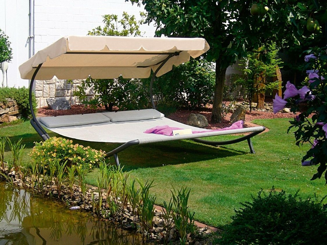 Doppel Gartenliege Sonnenliege Relaxliege Doppelliege Liege beige Sonnendach Neu
