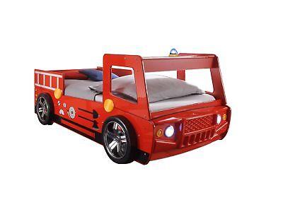 Autobett Feuerwehr 90*200 cm Rot Hochglanz LED-Beleuchtung Spielbett Kinderbett