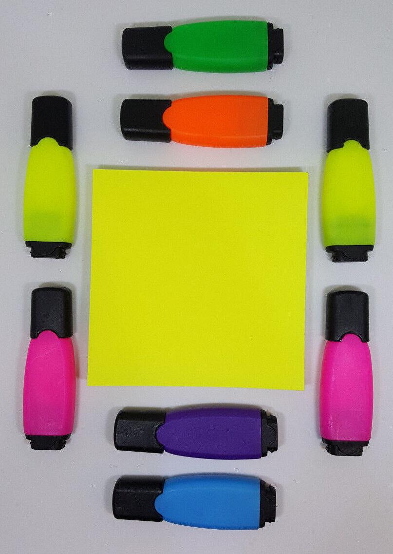 8 Mini Textmarker Set verschiedene Farben mit Haftnotizblock