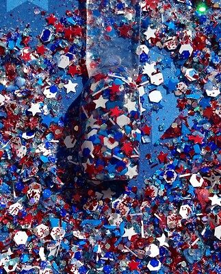 glitter mix nail art acrylic gel FLAG 4th of July red white and blue