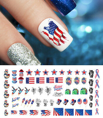 4th of July Nail Art Waterslide Decals Assortment - Salon Quality - Memorial Day