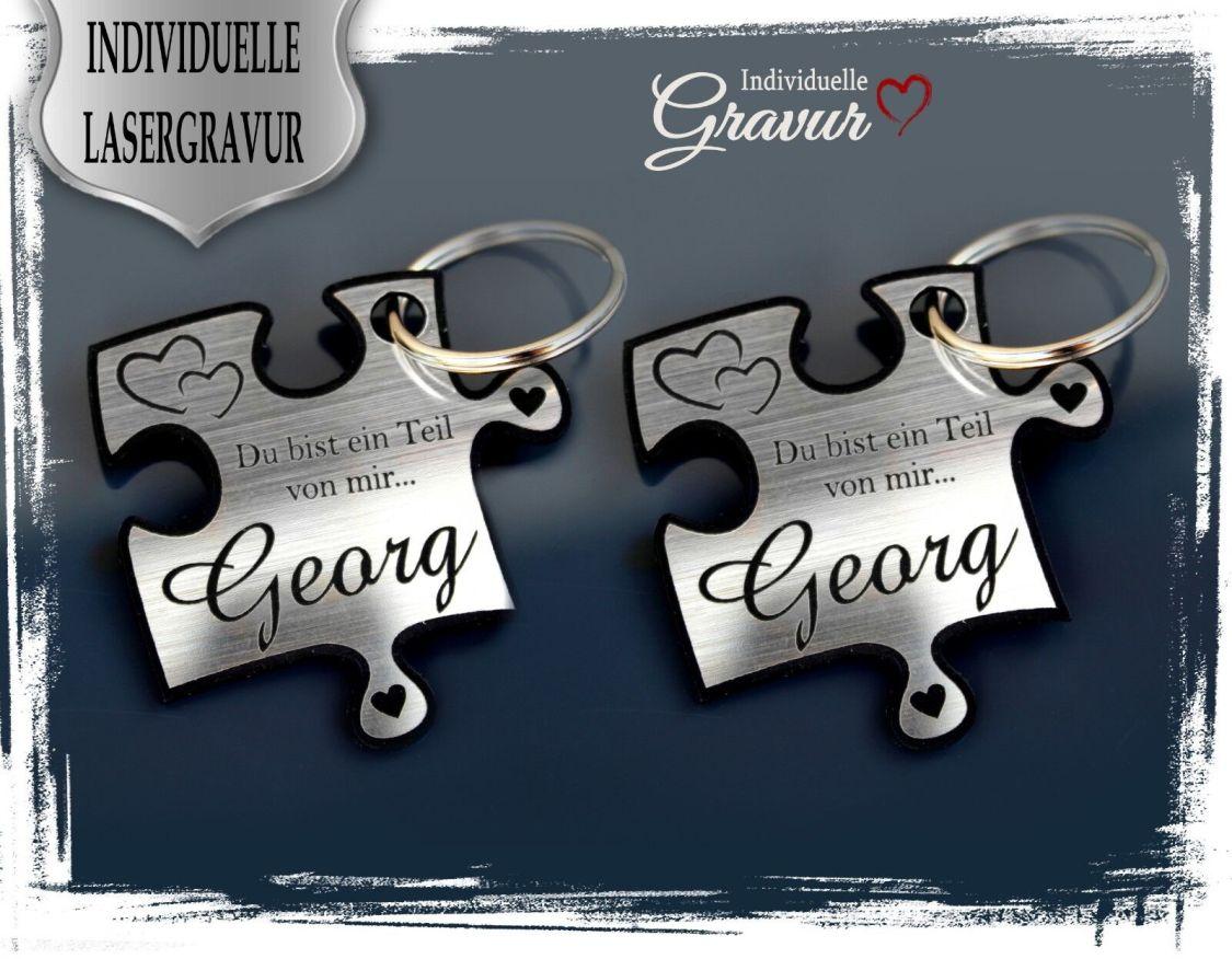 2 Schlüsselanhänger mit Gravur - Puzzle SILBER - Liebe Hochzeit Valentinstag