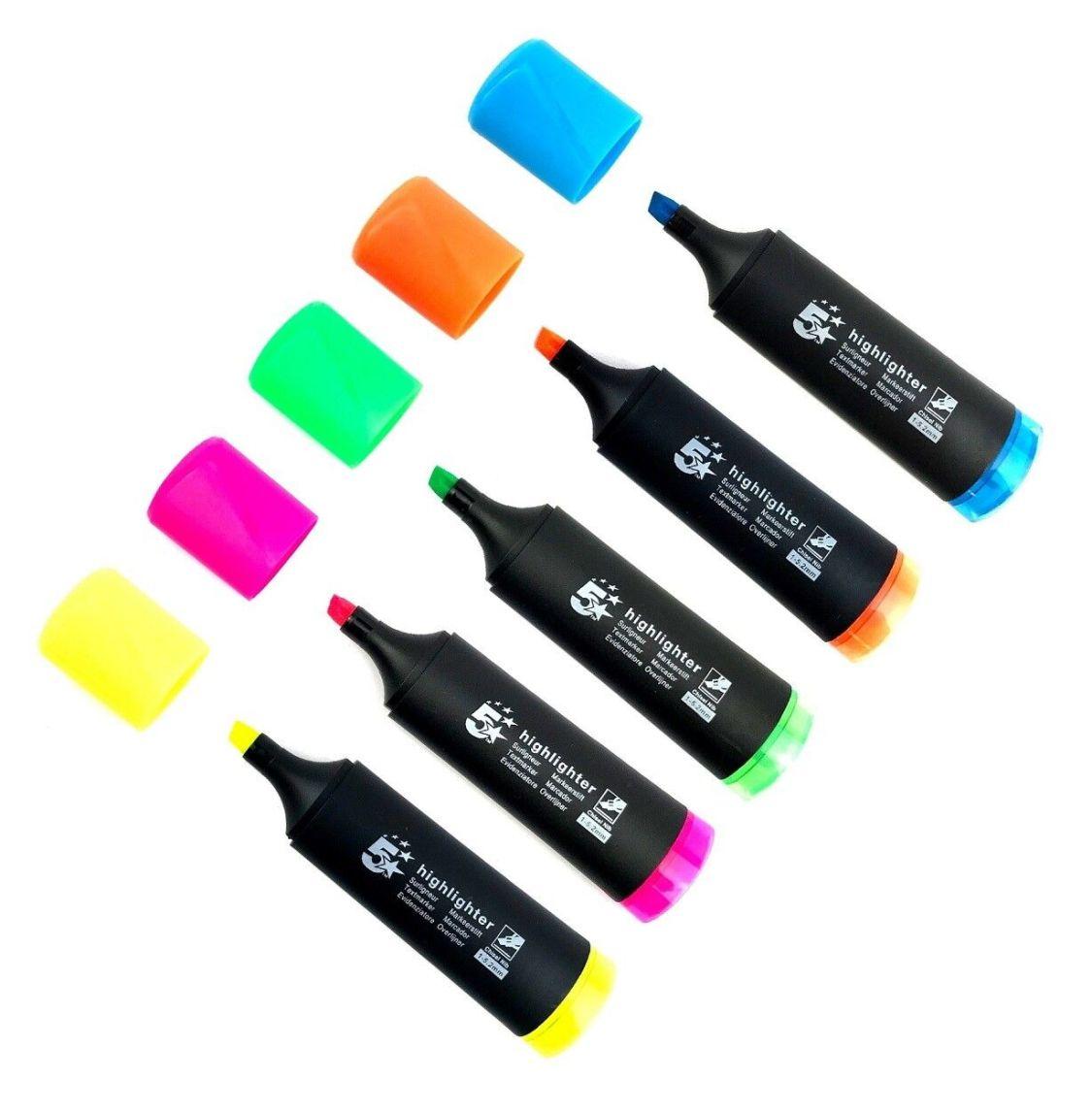 5 x Textmarker Set, farbig sortiert mit Keilspitze 1-5 mm Strichstärke