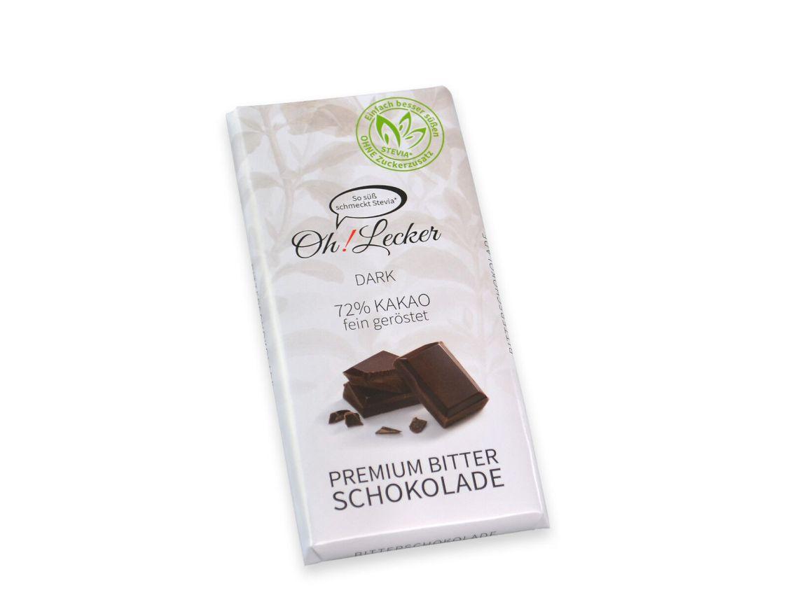 Oh! Lecker - Stevia Zartbitter-Schokolade 72 % Kakao zuckerfrei kalorienarm 80 g