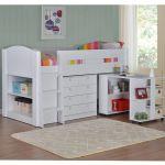 Frankie Childrens Mid Sleeper Cabin Bed Pull Desk Chest Shelves Various Colours Ebay