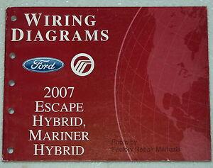 2007 Ford Escape Mercury Mariner Hybrid Electrical Wiring