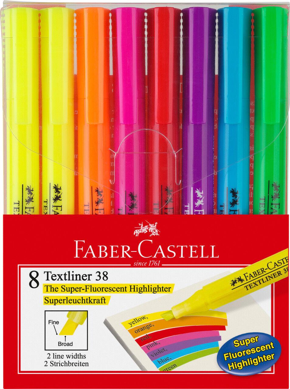 Faber-Castell TEXTLINER 38 Textmarker 8er Etui NEU&OVP *!bestPrice!*
