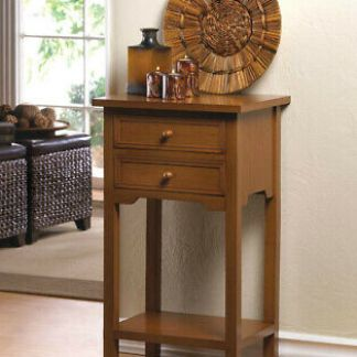 """27"""" Tall Brown Wood Side Table With Two Drawers Square End Night Stand Modern"""