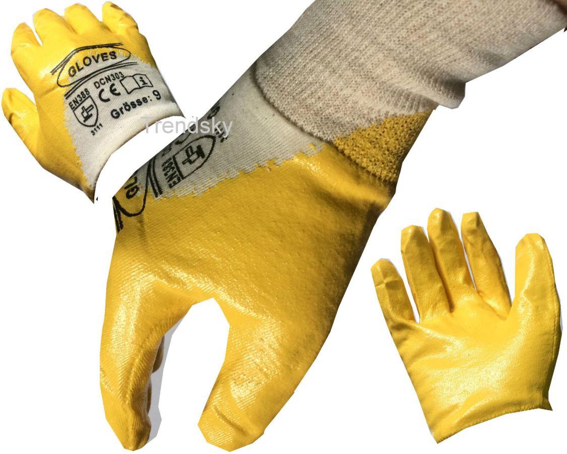 12-240 Paar Gelb Nitril Arbeitshandschuhe Gartenhandschuhe Montage Handschuhe