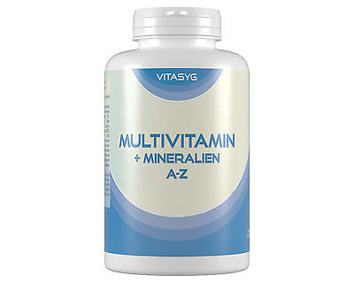 (4,20€/100g) Multivitamin + Mineralien A-Z - 2x365 Tabletten Jahresvorrat Vegan
