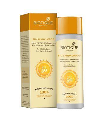 Biotique Bio Sandelholz 50+ SPF Sonnencreme Ultra Soothing Gesichtslotion 120 ml