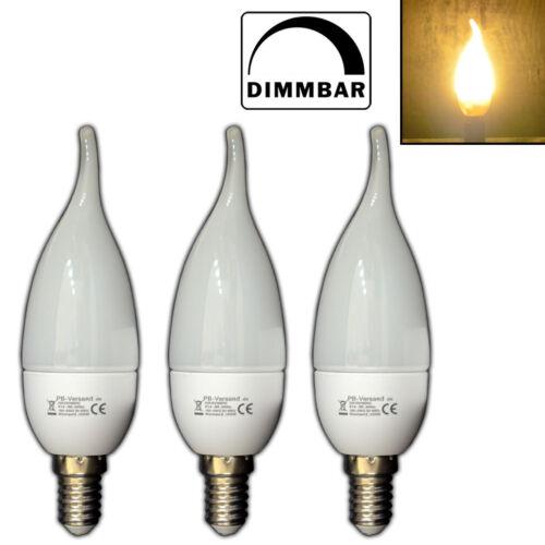 3x Dimmbare E14 LED Windstoß Kerze Kerzenform warmweiß Lampe Dimmer Glühbirne