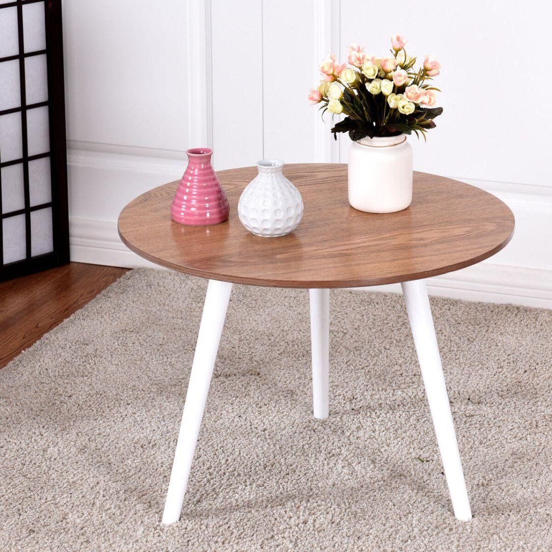 Design Couchtisch Kaffeetisch Sofatisch Beistelltisch Wohnzimmertisch Holz rund