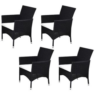 4PCS Outdoor Patio Black Rattan Arm Chair Furniture Set With Seat Cushions New