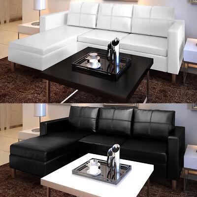 vidaXL Ecksofa Kunstleder 3-Sitzer Sofa Eckcouch Couch Ledersofa Schwarz/Weiß