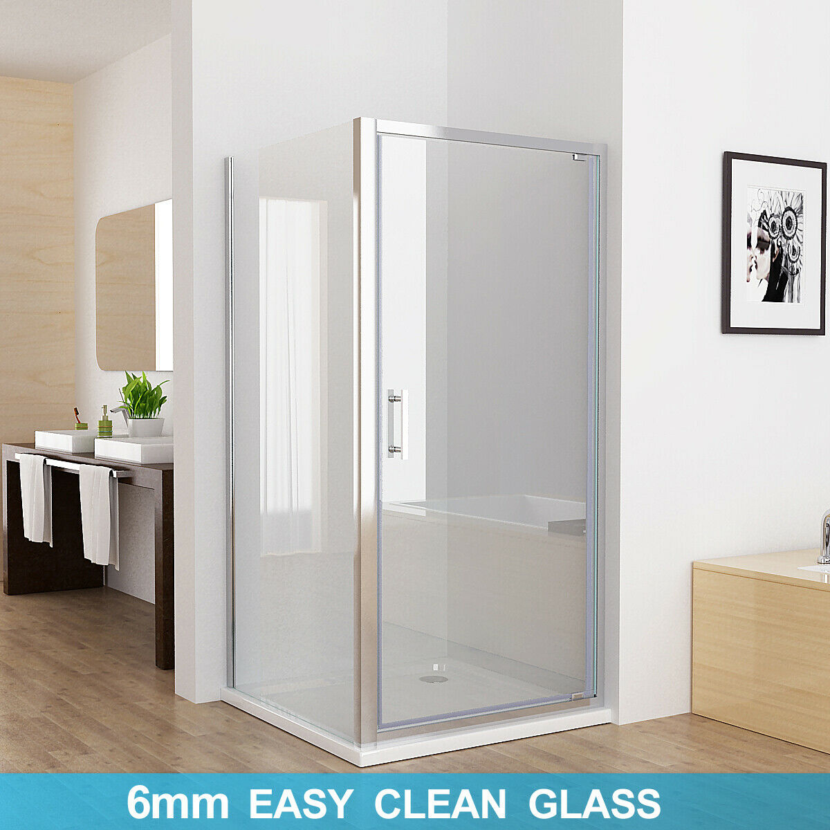 Shower Enclosure Pivot Hinged Door With Side Panel 6mm Nano Glass 760mm