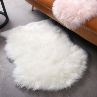2PCS Small Fluffy Rugs Fuzzy Furry Throw Rug 2x3 ft Area,(White)