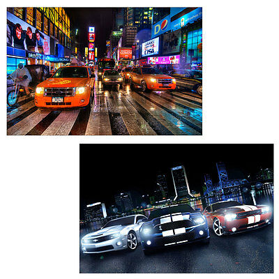 2x LED-Bild mit Beleuchtung Leinwandbild 60x40cm, Timer Cars
