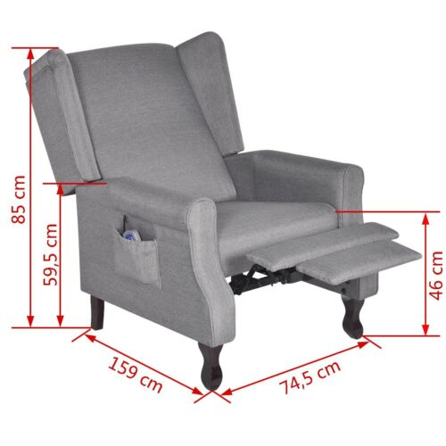 Neu Massagesessel Ohrensessel TV Fernsehsessel Polstersessel Relaxsessel Grau DE