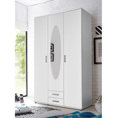 Kleiderschrank weiß Jugendzimmer Paule 3-türig Spiegel 2 Schubkästen 120cm breit