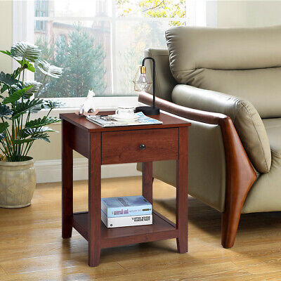 2-Set Nightstand Sofa Side Table Display Stand Multipurpose Bedside w/ Drawer 3