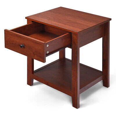 2-Set Nightstand Sofa Side Table Display Stand Multipurpose Bedside w/ Drawer 7
