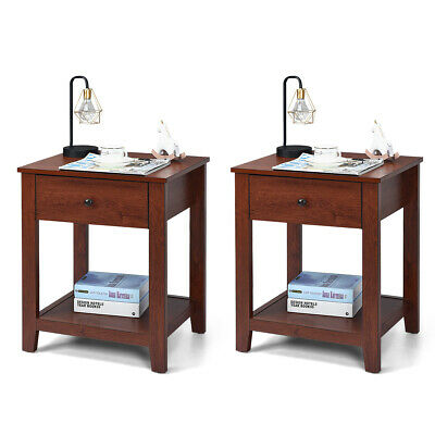 2-Set Nightstand Sofa Side Table Display Stand Multipurpose Bedside w/ Drawer