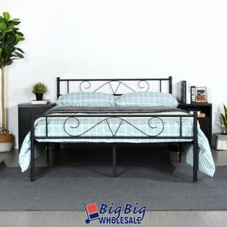 Full Size Metal Bed Frame Black Mattress Foundation with Headboard Footboard