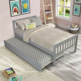 Wood Bed Frame Bed Platform with Trundle W/headboard &Footboard Slats Twin Size