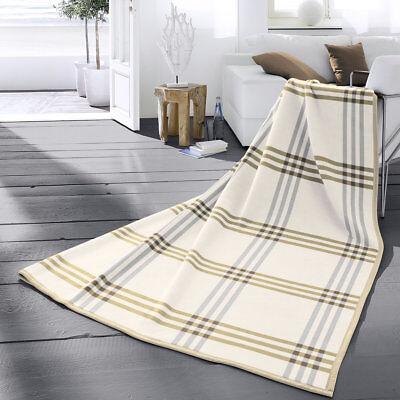 Biederlack Wohndecke 150x200 aus 100% Baumwolle Karo beige Baumwolldecke 663146
