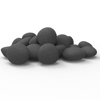 Regal Flame Set of 24 Ceramic Fiber Gas Ethanol Electric Fireplace Black Pebbles