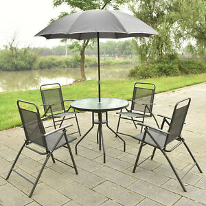 Patio Table Umbrella   eBay 6 PCS Patio Garden Set Furniture 4 Folding Chairs Table with Umbrella Gray  New