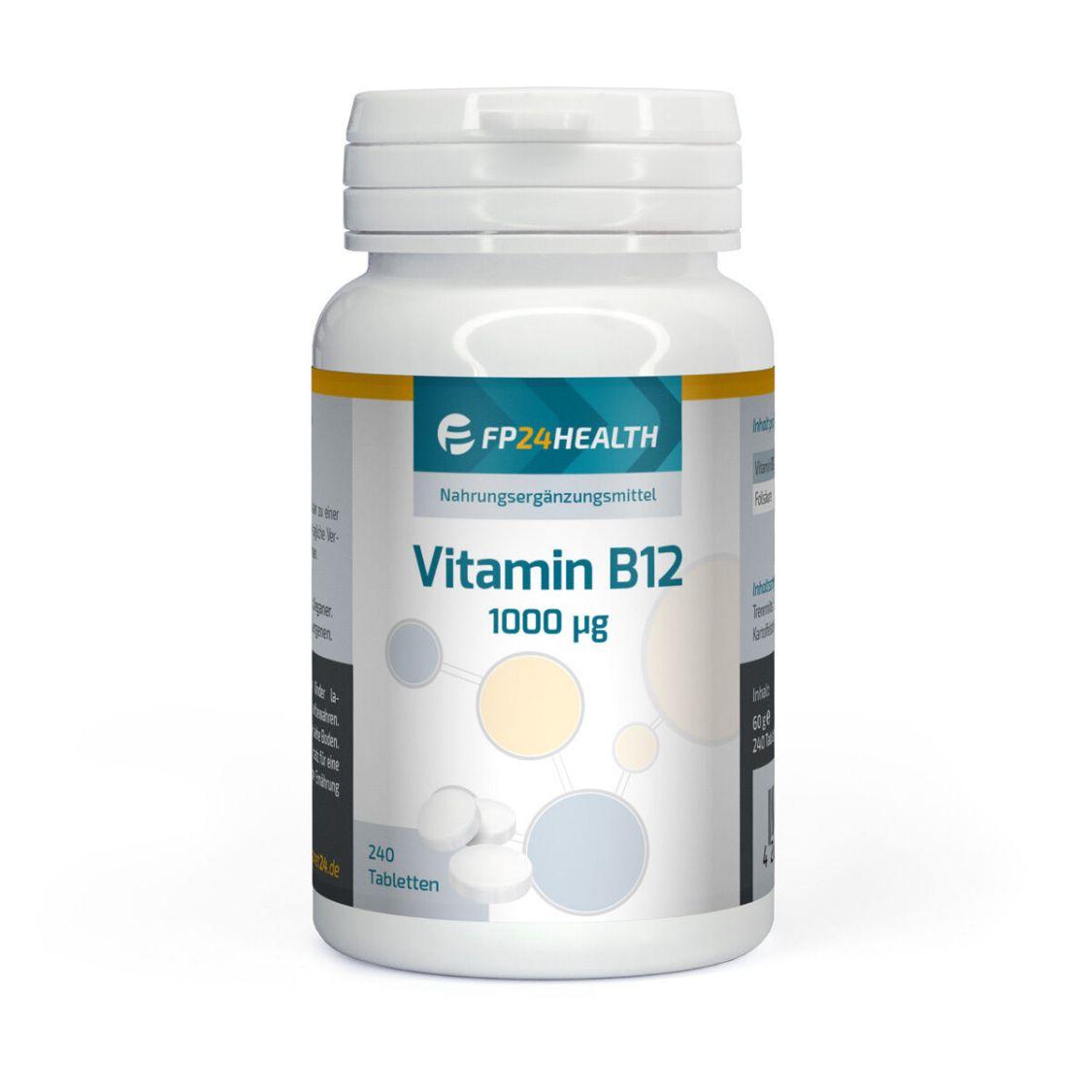 FP24 Health Vitamin B12 - 1000µg - Methylcobalamin 240 Tabletten - mit Folsäure