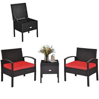 Patiojoy 3PCS Patio Rattan Furniture Set Storage Table Cushioned Sofa Deck Red