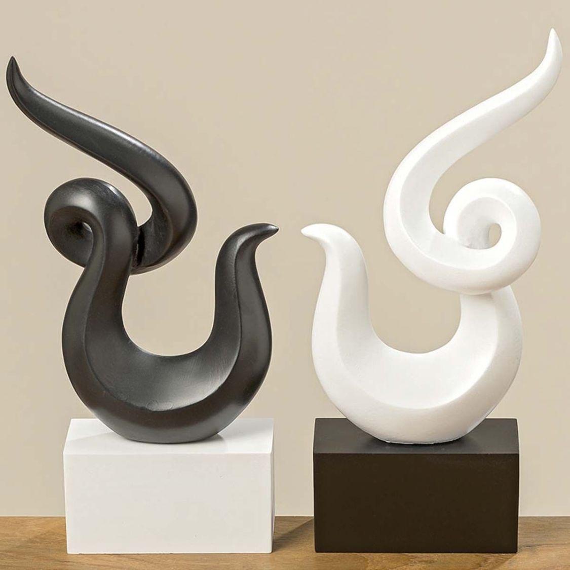 Deko Skulptur Samia schwarz/weiß aus Kunstharz Höhe 31cm Objekt
