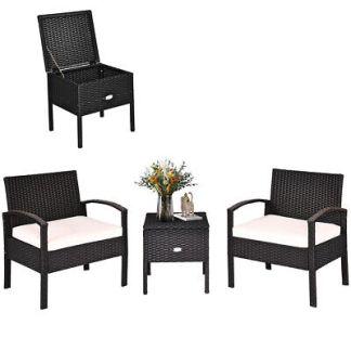 Patiojoy 3PCS Patio Rattan Furniture Set Storage Table Cushioned Sofa Black