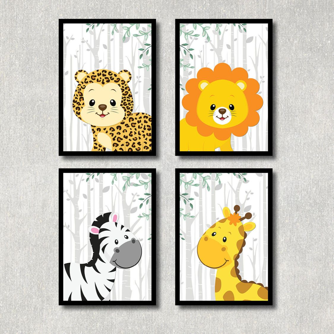 Bild Dschungel Tiere Kunstdruck A4 Afrika Safari Poster Kinderzimmer Deko